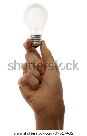 Hand with lamp isolated on white background