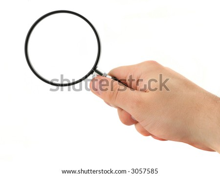hand with magnifying glass isolated on pure white background