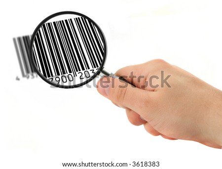 hand with magnifying glass scanning bar code (bar code is FAKE, no copyright infringement) - stock photo