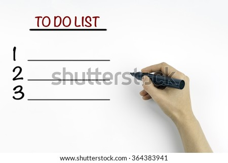 Hand with marker. Blank TO DO LIST list business concept, chart, diagram, presentation background - stock photo