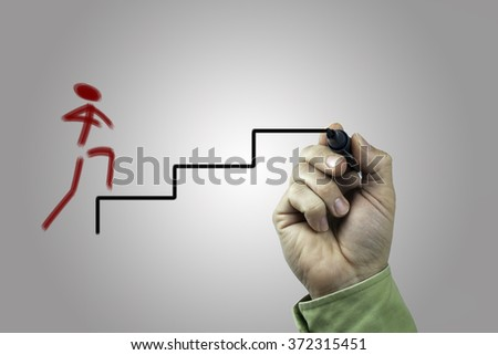 Hand with marker writing:  career ladder concept - stock photo