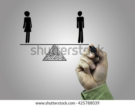 Hand with marker writing Equality of man and woman