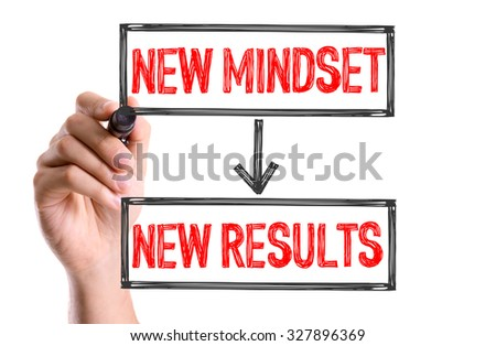 Hand with marker writing: New Mindset -> New Results - stock photo