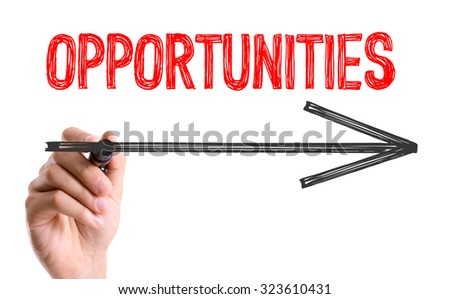 Hand with marker writing: Opportunities - stock photo