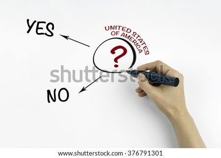 Hand with marker writing question about United States of America - stock photo