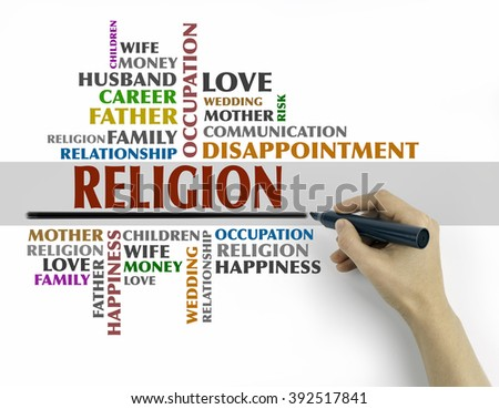 Hand with marker writing - Religion word cloud, Relations concept - stock photo