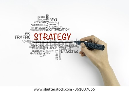 Hand with marker writing Strategy word cloud, education concept - stock photo