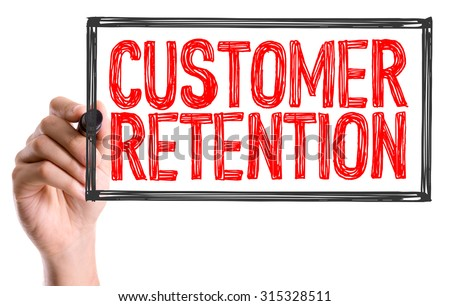 Hand with marker writing the text Customer Retention - stock photo