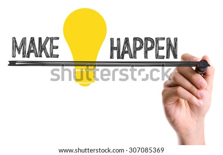Hand with marker writing the text Make Ideas Happen - stock photo
