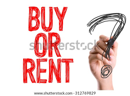 Hand with marker writing the word Buy or Rent? - stock photo