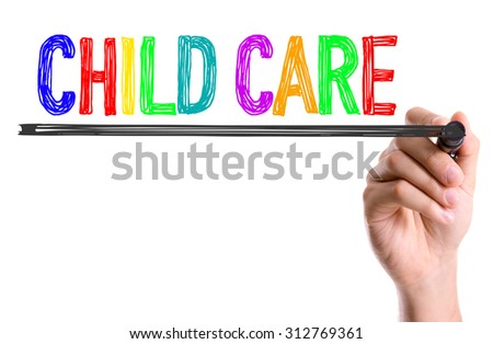 Hand with marker writing the word Child Care - stock photo