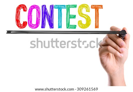 Hand with marker writing the word Contest - stock photo