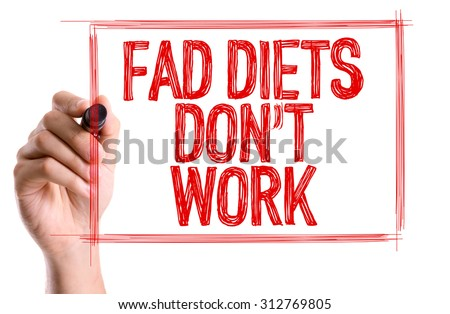 Hand with marker writing the word Fad Diets Don't Work - stock photo