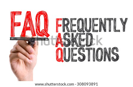 Hand with marker writing the word Frequently Asked Questions - stock photo