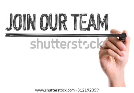 Hand with marker writing the word Join Our Team - stock photo