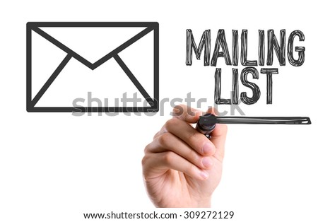 Hand with marker writing the word Mailing List - stock photo