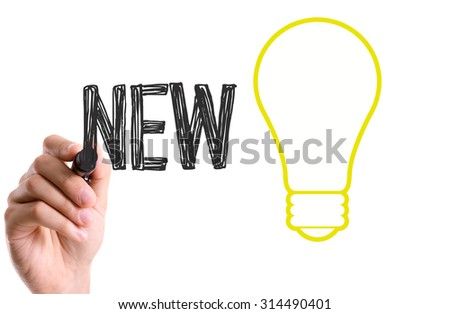 Hand with marker writing the word New Ideas - stock photo