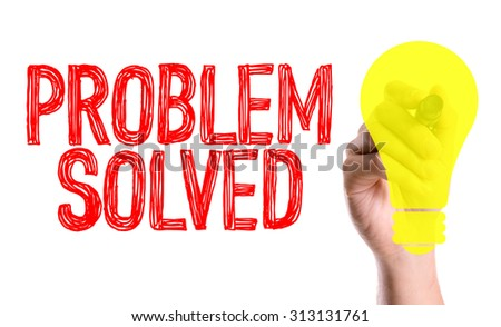 Hand with marker writing the word Problem Solved - stock photo