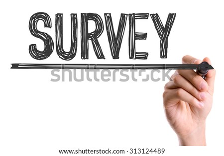 Hand with marker writing the word Survey - stock photo