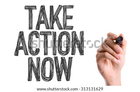 Hand with marker writing the word Take Action Now - stock photo