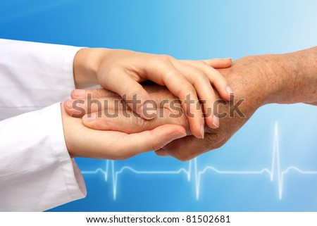 Hand with medical background - stock photo