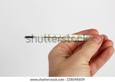hand with medical thermometer closeup on white background