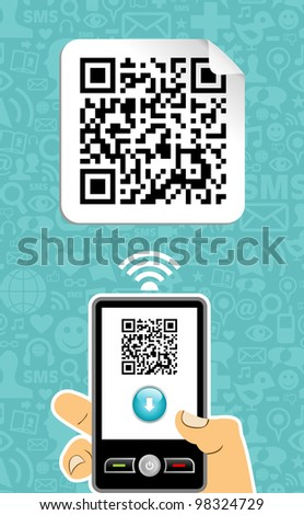 Hand with mobile phone scans the QR code on blue background. - stock photo