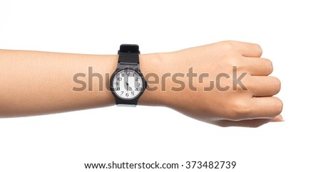 Hand with modern watch showing 6 O'clock isolated on white background - stock photo