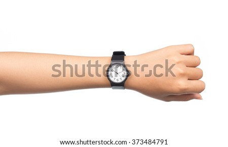 Hand with modern watch showing 10:10 o'clock isolated on white background - stock photo