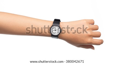 Hand with modern watch showing 10:11 o'clock isolated on white background - stock photo