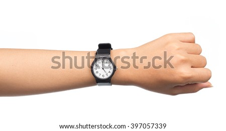Hand with modern watch showing 5 O'clock isolated on white background - stock photo