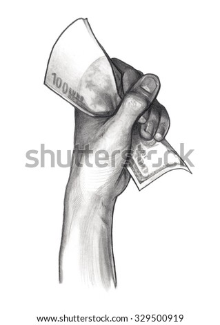 Hand with money, euros, pencil drawing - stock photo