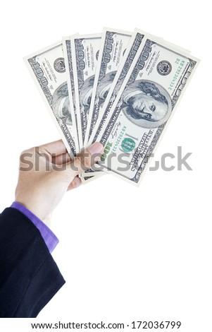 Hand with money hundred dollars isolated on white background - stock photo