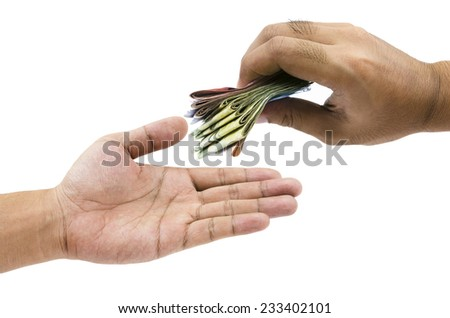 Hand with money isolated on white - stock photo
