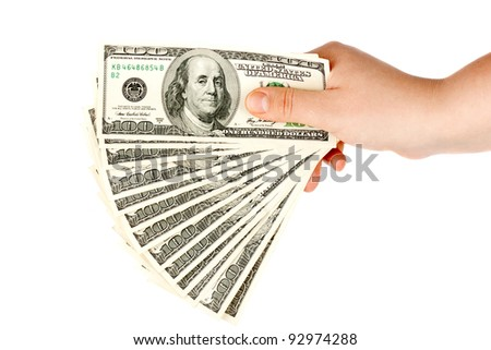 Hand with money on the white background - stock photo