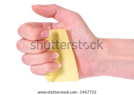 Hand with notecard - stock photo