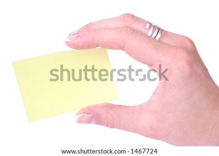 Hand with notecard  - your text go here - stock photo