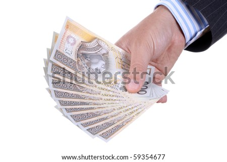 Hand with notes isolated over white background - stock photo