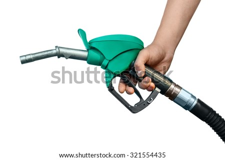 Hand with nozzle on white background - stock photo