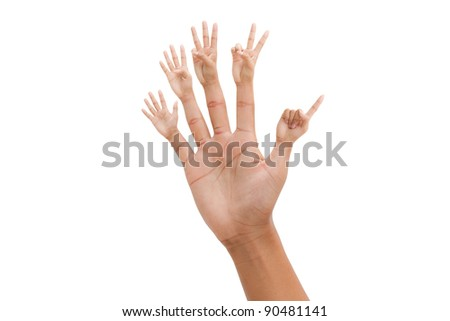 Hand with 1-5 number finger, Isolated on white - stock photo