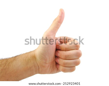 Hand with OK sign isolated on white background - stock photo