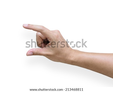 Hand with open fingers for holding something, isolated on white background with soft shadow