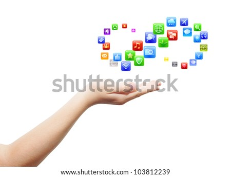 Hand with open palm and plenty application icons proposal, isolated, clipping path - stock photo