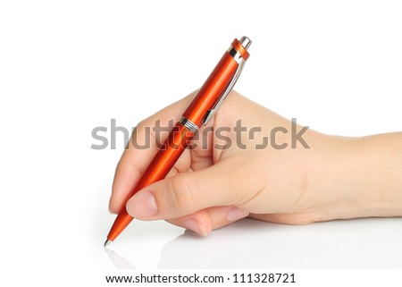 Hand with orange pen on white background - stock photo