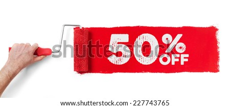 Hand with paint roller showing 50 % off, isolated on white - stock photo