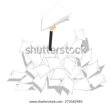 Hand with papers arises from the pile of documents