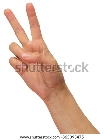 Hand with peace sign. - stock photo