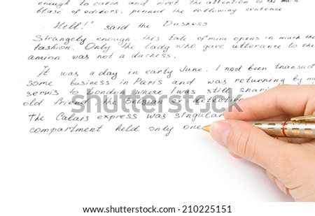 hand with pel writing the text - stock photo