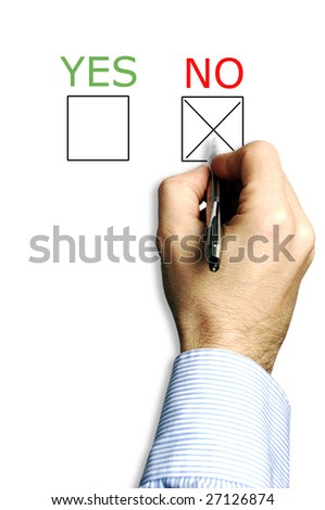 hand with pen and a choice of yes and no box to thick for answer, choosing no - stock photo