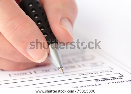 Businessman Completing Application Form Pen Hand Stock Vector ...